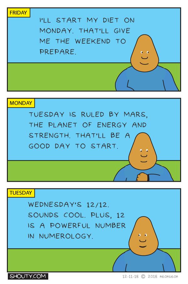 Diet Start Date Comic by Shouty