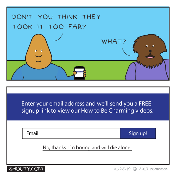 Sign Up Form Comic by Shouty